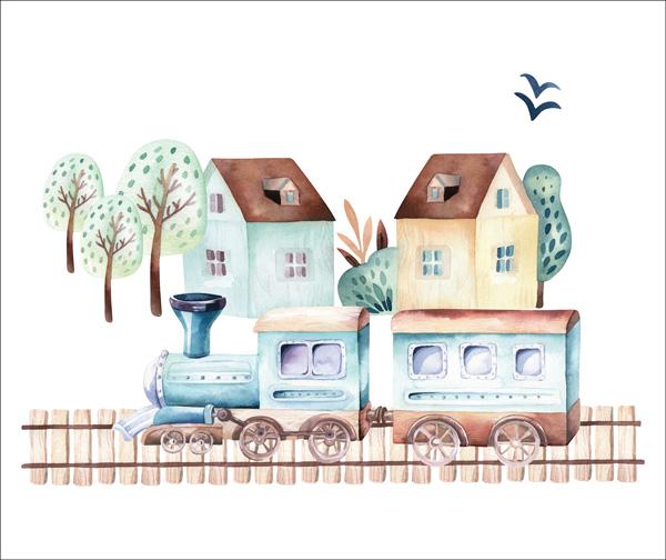 2.-třída---látka-bavlněné-plátno-premium-panel-m-+-50x40-trains-/-vláčky