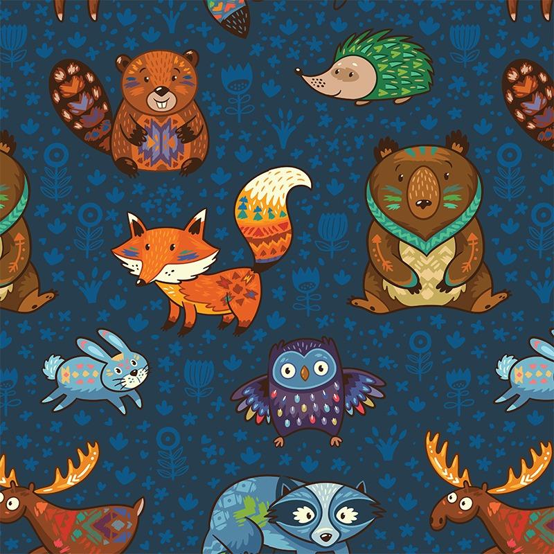 látka-softshell-zimní-aztécké-zvířátka-na-tmavě-modrém