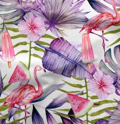 látka-bavlněné-plátno-exotic-flamingos