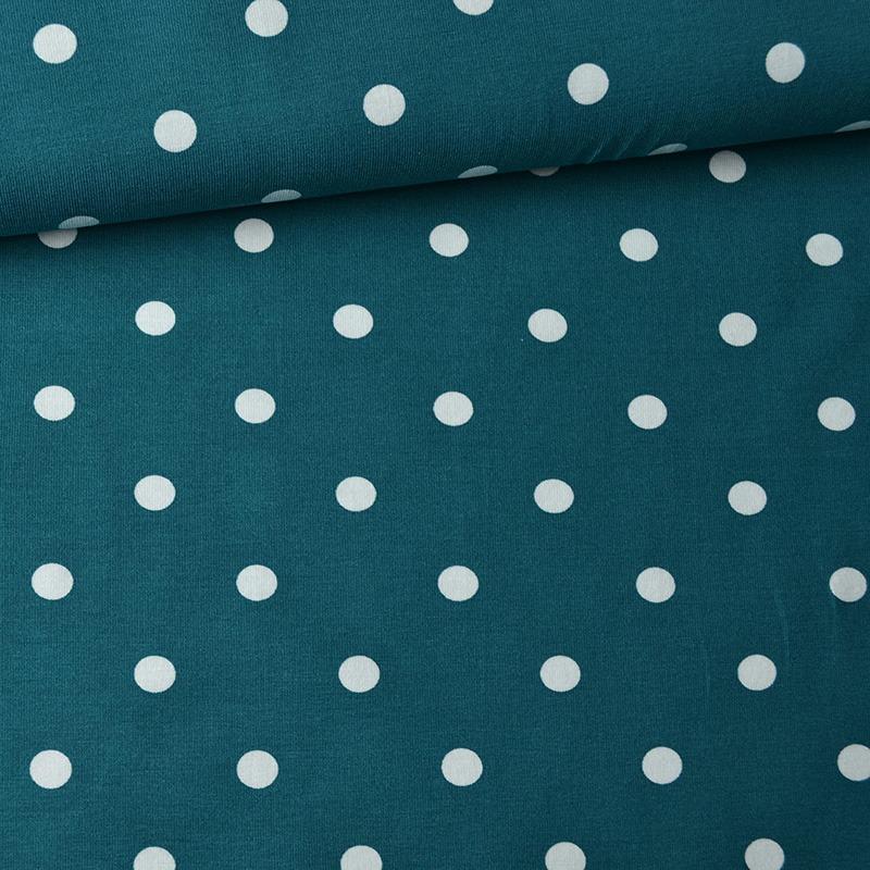 látka-úplet-puntíky-bílé-1-cm-na-lesní-tyrkysové