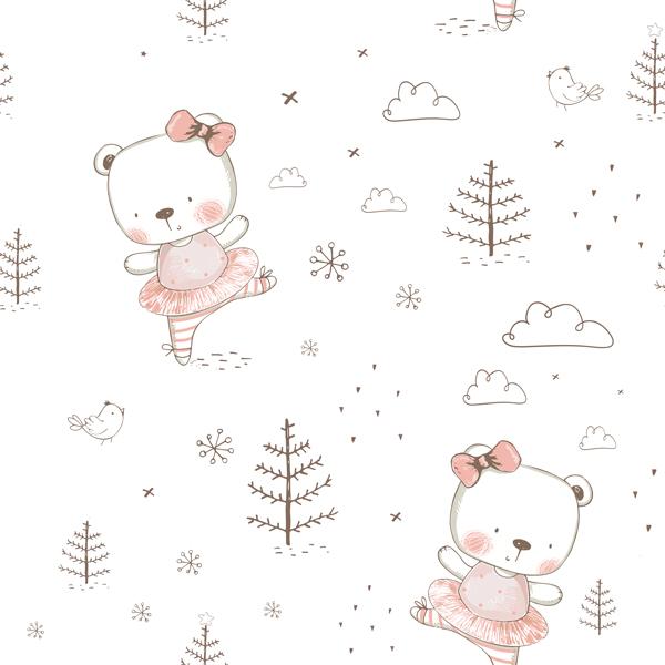 látka-bavlněné-plátno-premium-starorůžový-medvídek-v-bílém-lese