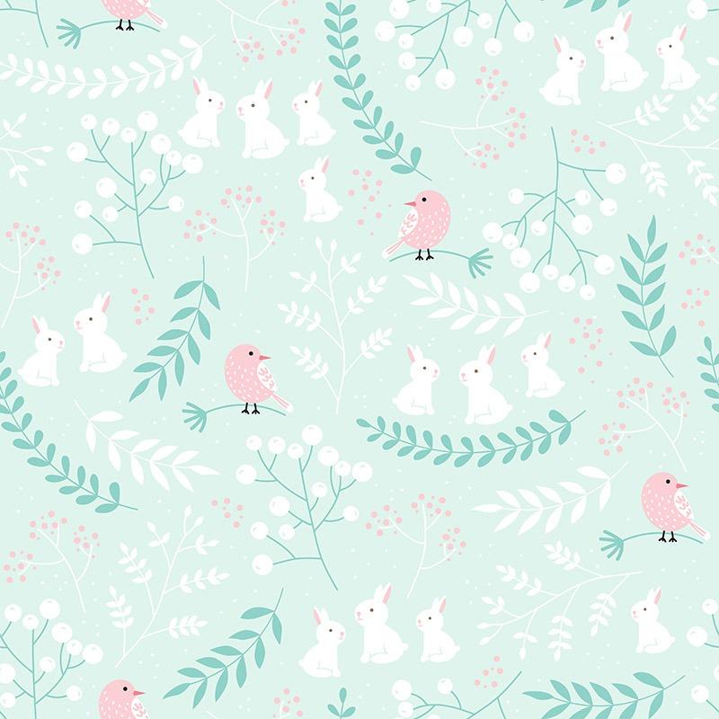 látka-bavlněné-plátno-premium-růžové-ptáčky-v-mátovém-lese