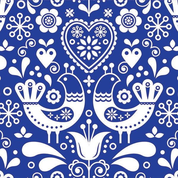látka-s-potiskem-nepromokavý-polyester/kočárkovina-td/ns-lidové-ptáčky-vzor-2-bílé-na-modrém